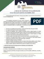 Convocatoria de Becas Hospedaje y Alimentación Agosto-Diciembre 2018