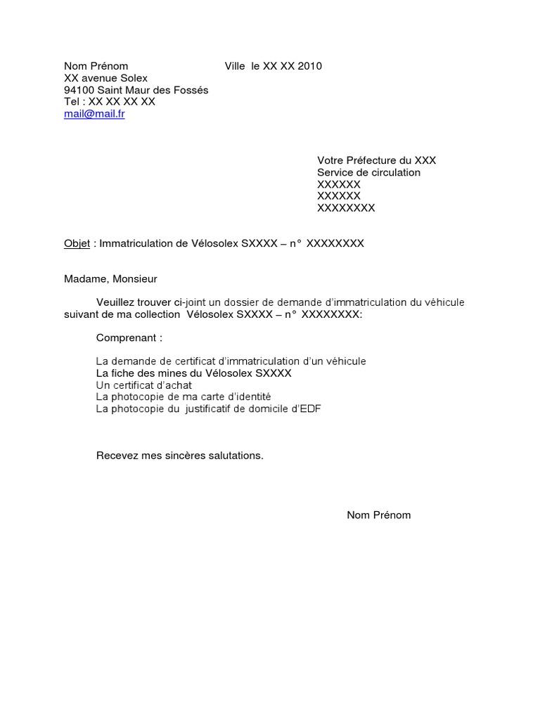 Courrier Immatriculation 2