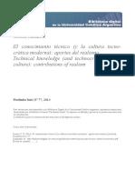 El Conocimiento Técnico (y La Cultura Tecnocrática Moderna)_ Aportes Del Realismo