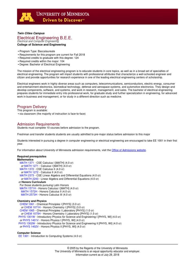 Electrical Engineering 4 Year Plan Umn Wiring Diagram Libraries Bs Electronicselectrical 19
