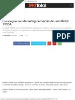 Estrategias de Marketing Derivadas de Una Matriz FODA - Mercadotecnia Total