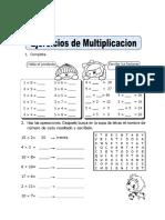 Ficha de Ejercicios de Multiplicacion Para Segundo de Primaria