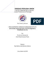Clima Social Familiar y Nivel de Resiliencia en Estudiantes Del Cuarto de Secundaria
