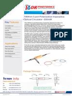 1um 1064nm 3 Port Polarization Insensitive Optical Circulator