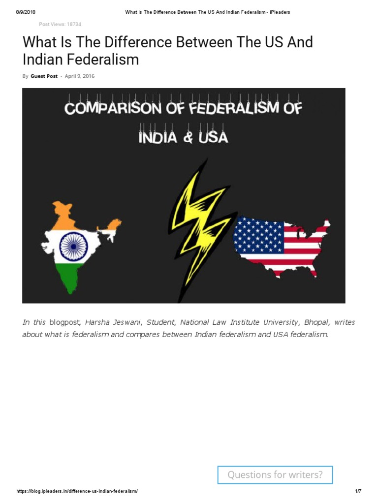 What is the Difference Between the US and Indian Federalism