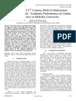 Impact of the 21?? Century Skill (Collaboration Skills) on Students' Academic Performance in Nature of Statistics at Mukuba University