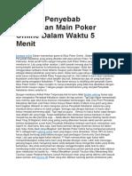 Pahami Penyebab Kekalahan Main Poker Online Dalam Waktu 5 Menit