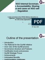 Improving NGO Internal Governance and Public Accountability