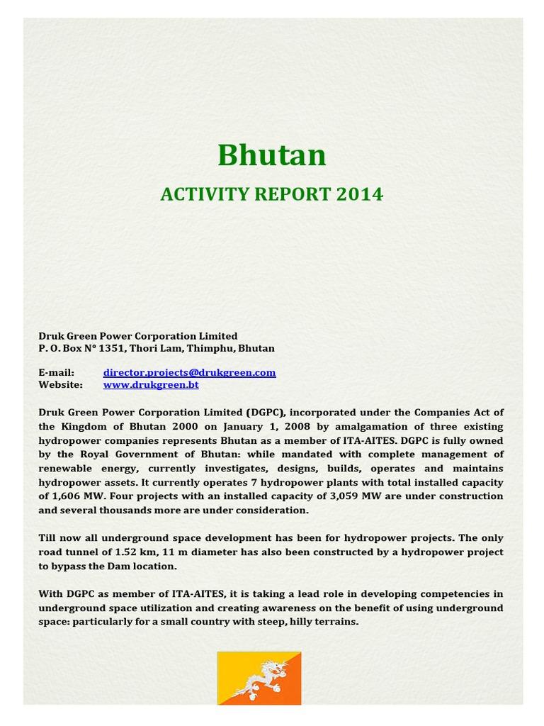 2017 Hydropower Status Report Bhutan Hydroelectricity