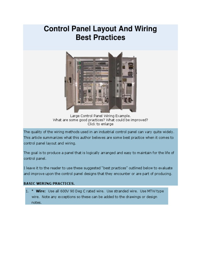Control Panel Layout and Wiring Best Practices | Electrical Wiring ...