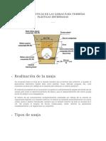 Características de Las Zanjas Para Tuberías Plásticas Enterradas