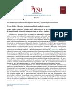 Las Instituciones de Educación Superior Privada y sus estrategias de mercado