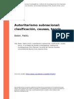 Balan%2c Pablo (2013). Autoritarismo Subnacional Clasificacion%2c Causas%2c Teoria