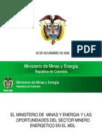 El Ministerio de Minas y Energia y Las