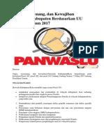 Tugas, Wewenang, dan Kewajiban Panwaslu Kabupaten Berdasarkan UU Nomor 7 Tahun 2017.pdf
