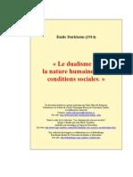 Durkheim - Le Dualisme de La Nature Humaine