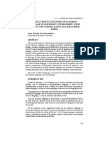 Characteristic Features of Academic Language in University Environment With Focus on the German Language (