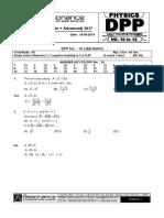 Class XI Physics DPP Set (04) - Mathematical Tools & Kinematics