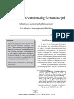 Pacto Federativo e Autonomia Legislativa Municipal
