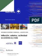 Informe Económico Mensual del mes de agosto de 2018