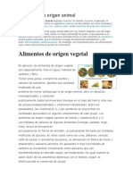 Alimentos de Origen Animal, Vegetal, Mineral