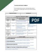 Gp Gin Estructura Ejemplo Plan de Gestión Del Cambio