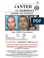 Wanted poster for Shawn Richard Christy, fugitive