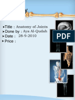 Anatomy, Lecture 2, Joints  (Lecture Notes)