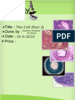 Histology, Lecture 3, The Cell Part 2