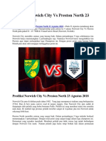 Prediksi Norwich City vs Preston North 23 Agustus 2018