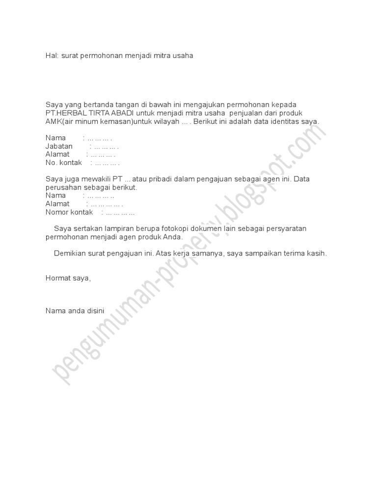 Surat Permohonan Mitra Bisnis
