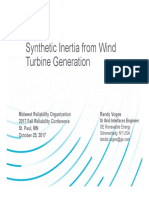 Synthetic Inertia from Wind Turbine Generation, Randy Voges