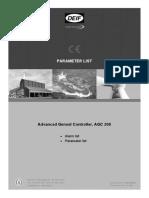 AGC 200 Parameter List 4189340605 UK