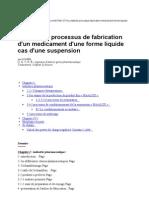 Maitrise de Processus de Fabrication d'Un Medicament d'Une Forme Liquide Cas d'Une Suspension