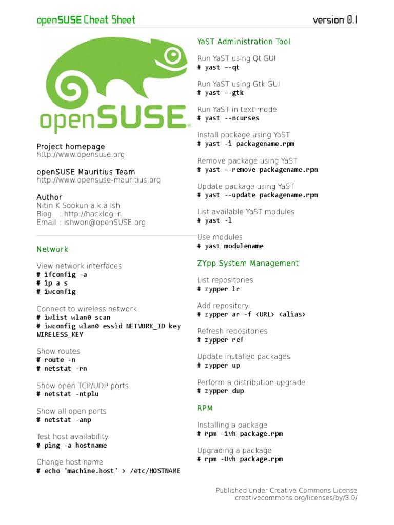 openSUSE-Cheat-Sheet pdf | Unix | Linux Distribution