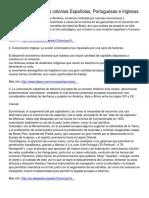 Características de Las Colonias Españolas