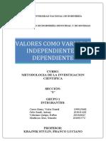 Variable Independiente Variable Dependiente