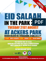 Eidul Adha Salaah in the Ackers Park on Tuesday 21st August 2018
