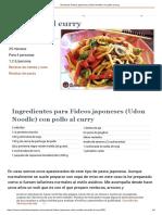 Receta de Fideos Japoneses (Udon Noodle) Con Pollo Al Curry
