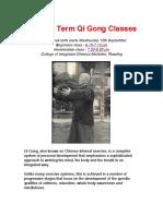 Autumn Term Qi Gong Classes