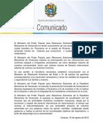 Comunicado República Bolivariana de Venezuela
