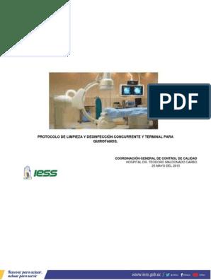 protocolo limpieza quirófano contaminado