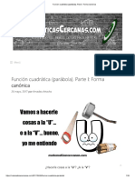 Funcion Cuadratica Parabola Canonica