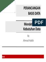 Perancangan Basis Data, Mendefinisikan Kebutuhan Data
