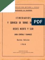 Itinerarios y Servicios de Trenes de Carga Redes Norte Y Sur - 1964