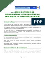 Glosario de Terminos Relacionados Con La Higiene Seguridad y Medicina Laboral