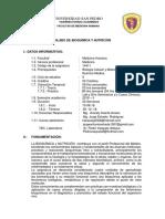 Silabus Bioquimica y Nutricion 2018-II