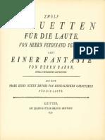 D-Breitkopf Zwölf Menuetten (Ferdinand Seidel) Eine Fantasie (Ernst Gottlieb Baron) 1757