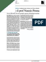 Morto il prof Nunzio Penna - Il Resto del Carlino del 7 agosto 2018
