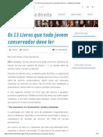 Os 13 Livros Que Todo Jovem Conservador Deve Ler – Tradutores de Direita